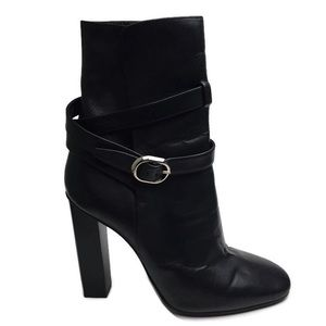 Emilio Pucci Wraparound Belted Black Leather Boots